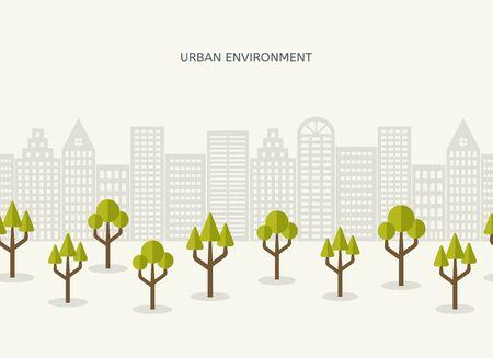Urban park city landscape seamless border. Environmental landscaping concept. Ecologic background