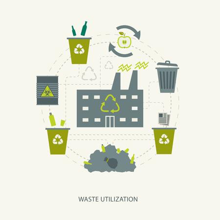papelera de reciclaje: Basura de reciclaje y el concepto de utilizaci�n de residuos. Fondo ecol�gico ambiental Vectores