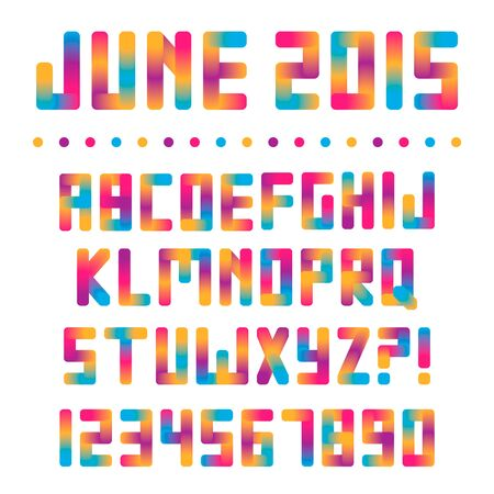 Colorful bright font with gradient transitions. Summer letters Ilustração