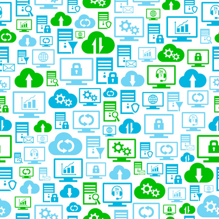 remote backup service: Seamless pattern with hosting, server, database, network and cloud computing icons