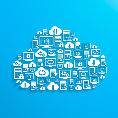 hosting: Hosting server database network and cloud service icons Illustration