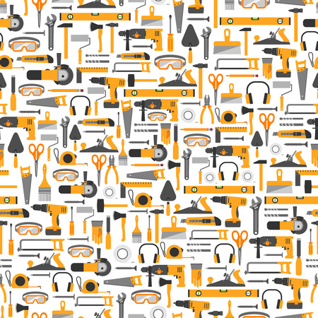 Construction tools vector icons seamless pattern. Hand equipment background in flat style.