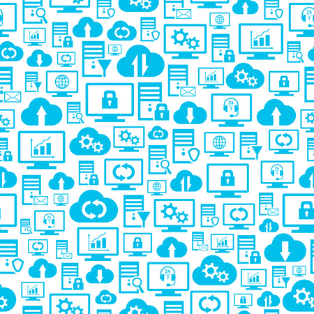 Seamless pattern with hosting, server, database, network and cloud computing icons