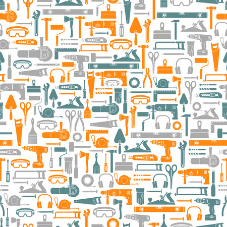Construction tools vector icons seamless pattern. Hand equipment background in flat style. Фото со стока - 38382171