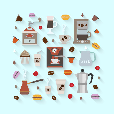 Coffee icons set in minimalistic style. Flat coffee icons. Vector illustration EPS 10.