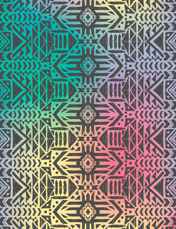 Aztec tribal mexican seamless pattern. Hipster boho chic background with gradient mesh
