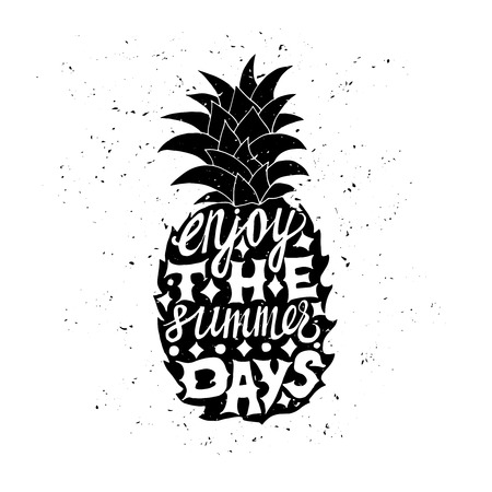 summer vacation: Motivational travel poster with pineapple. Travel label with grunge texture. Enjoy the summer days