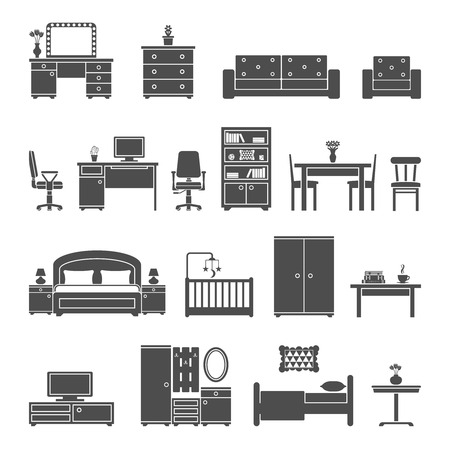 Furniture interior flat icons. Vector illustration EPS 10. Vettoriali