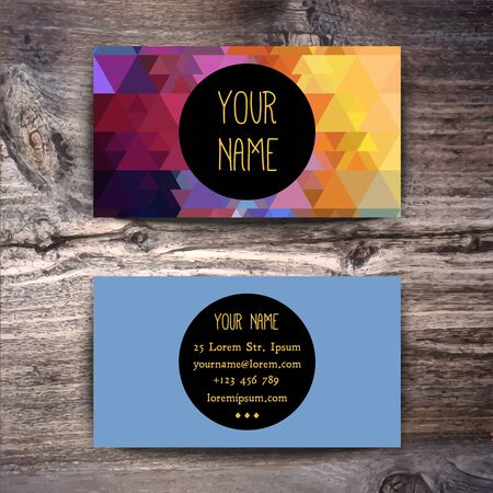 business cards: Business card template with creative geometric pattern on wooden background