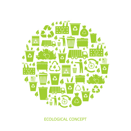 Recycling garbage icons concept. Waste utilization. Vector illustration Imagens - 38886916