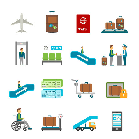 airport security: Airport travel icons with online ticket reservation and navigation signs in flat style