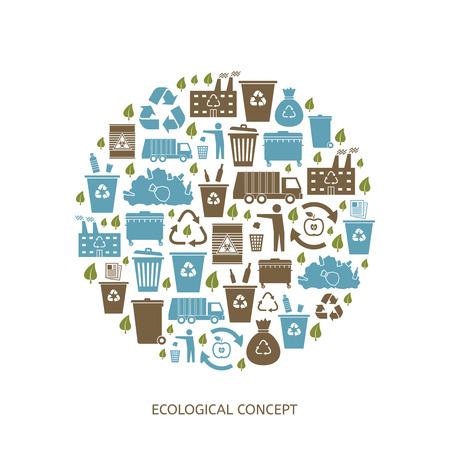 wheelie bin: Recycling garbage icons concept. Waste utilization. Vector illustration