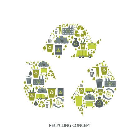 cesto basura: Reciclaje de iconos de basura concepto. Aprovechamiento de desechos. Ilustración vectorial