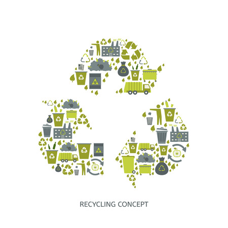 recycling plant: Recycling garbage icons concept. Waste utilization. Vector illustration