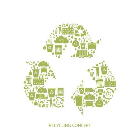 camion de basura: Reciclaje de iconos de basura concepto. Aprovechamiento de desechos. Ilustraci�n vectorial