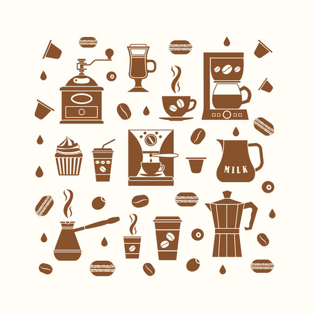 cafe shop: Coffee icons set in minimalistic style. Flat coffee icons. Vector illustration EPS 10.