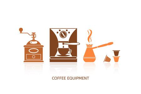 maquina de vapor: Iconos café establecidos en estilo minimalista. Iconos de café planas. Equipo de café. Ilustración del vector EPS 10. Vectores