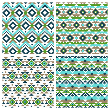 Geometric ethnic aztec mexican seamless patterns set. Tribal ornament, boho chic texture Stock Vector - 38886646