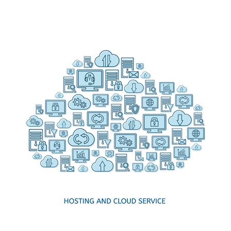 remote backup service: Hosting server database network and cloud service icons Illustration