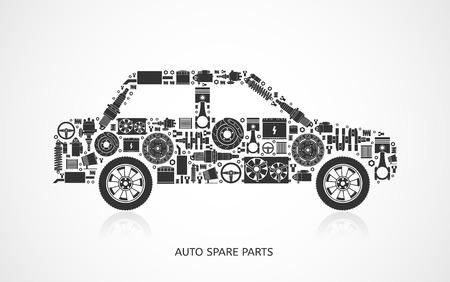 herramientas de mecánica: Conjunto de piezas de auto partes. Iconos de reparación de automóviles en estilo plano. Ilustración vectorial EPS10.