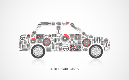 Set of auto spare parts. Car repair icons in flat style. Vector illustration EPS10. Иллюстрация