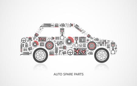 Set von Auto-Ersatzteilen. Autowerksymbole im flachen Stil. Vektor-Illustration EPS10. Standard-Bild - 39680880