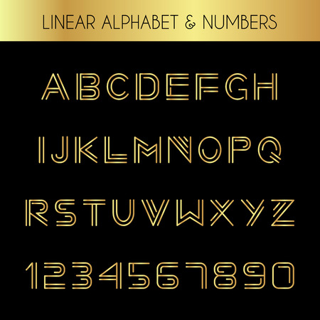 Linear font. Minimalistic alphabet with thin lines.