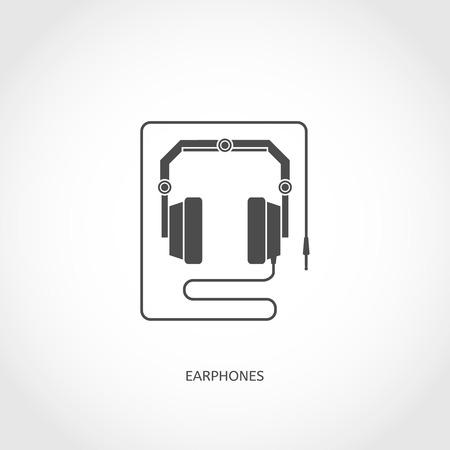 earphones: Musical modern earphones flat vector flat icon