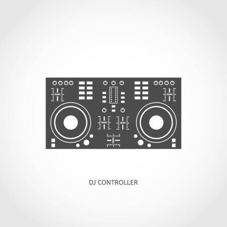 Musical modern instrument mixing console flat vector flat icon