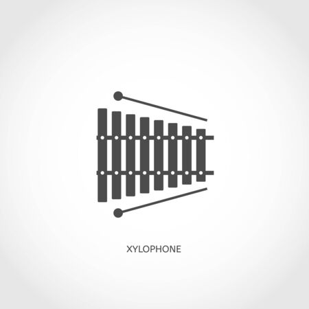 Musical modern instrument xylophone flat vector flat icon Vector