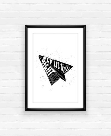 paper plane: Motivational travel poster with paper plane. Travel label with grunge texture. Fly in the right direction