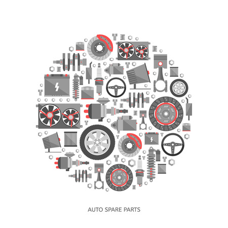 repuestos de carros: Conjunto de piezas de auto partes. Iconos de reparación de automóviles en estilo plano. Ilustración vectorial