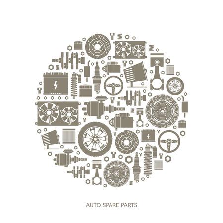 radiator: Conjunto de piezas de auto partes. Iconos de reparación de automóviles en estilo plano. Ilustración vectorial EPS10.