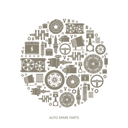 Set of auto spare parts. Car repair icons in flat style. Vector illustration EPS10. Vettoriali