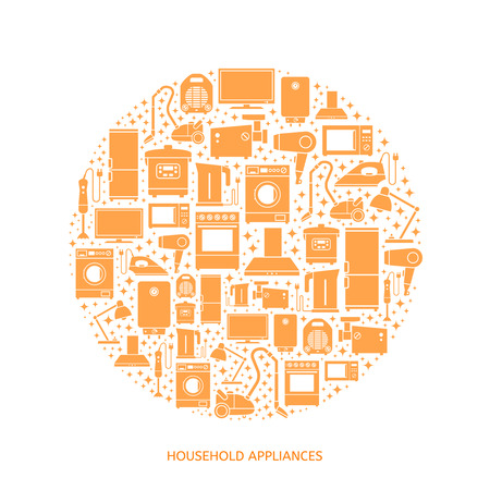 gas lamp: Household appliances flat icons with descriptions. Vector illustration