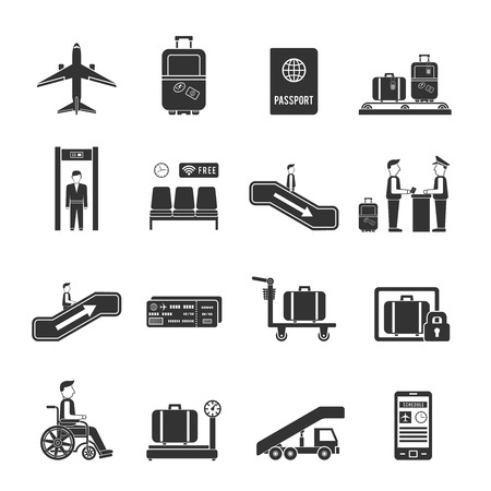 airplane: Airport travel icons with online ticket reservation and navigation signs in flat style