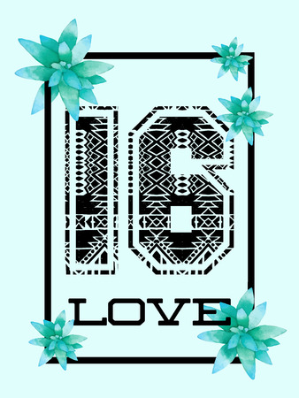 number 16: Trendy t-shirt design with number 16 and love in black frame with succulents. Boho mexican aztec design for women top, phone case, wallpaper