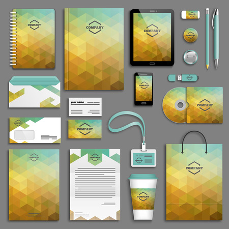 Corporate identity template set. Business stationery mock-up with logo. Branding design. Letter envelope, card, catalog, pen, pencil, badge, paper cup, notebook, tablet pc, mobile phone, letterhead  イラスト・ベクター素材