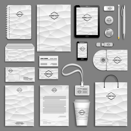 Corporate identity template set. Business stationery mock-up with logo. Branding design. Letter envelope, card, catalog, pen, pencil, badge, paper cup, notebook, tablet pc, mobile phone, letterhead Illustration