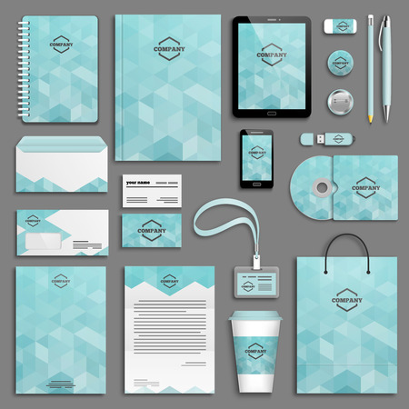 Corporate identity template set. Business stationery mock-up with logo. Branding design. Letter envelope, card, catalog, pen, pencil, badge, paper cup, notebook, tablet pc, mobile phone, letterhead Ilustracja
