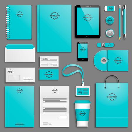 papírnictví: Šablona Corporate identity set. Obchodní papírnictví mock-up s ikonou. Branding design.