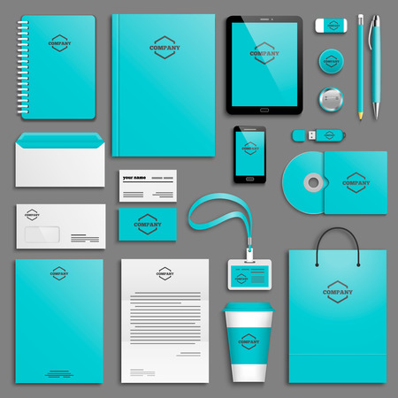 stationery: Corporate identity template set. Business stationery mock-up with icon. Branding design.