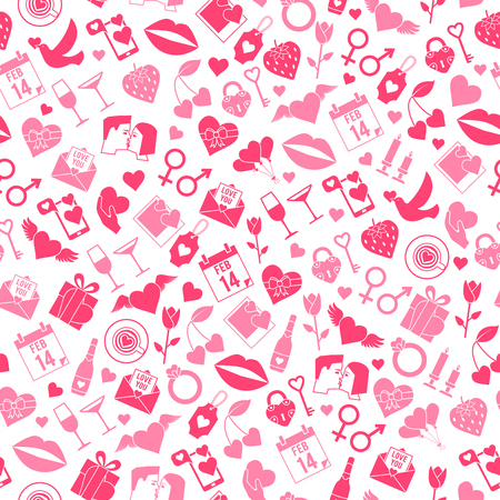 Valentines Day Love seamless pattern with icons. Romantic wedding texture. Vector