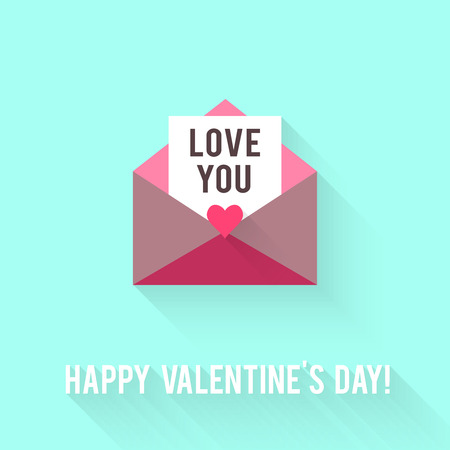 greeting card: Valentines Day greeting card. Love concept in flat style.