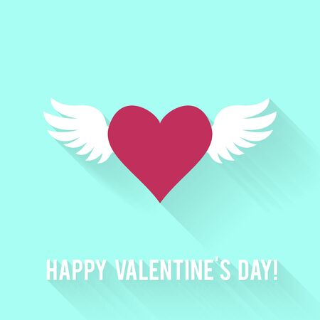 heart and wings: Valentines Day greeting card. Love concept in flat style.