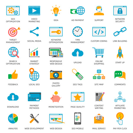 SEO optimization icons. Web development, internet marketing, web design, tags, target stratege, analysis Ilustração