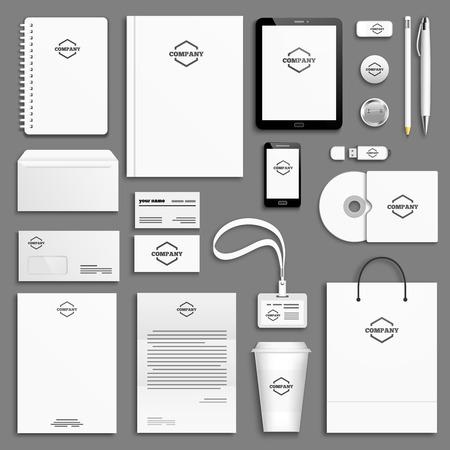 sjabloon: Corporate identity template set. Briefpapier mock-up met een pictogram. Branding ontwerp. Stock Illustratie