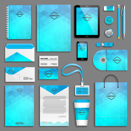 identities: Corporate identity template set. Business stationery mock-up with icon. Branding design.
