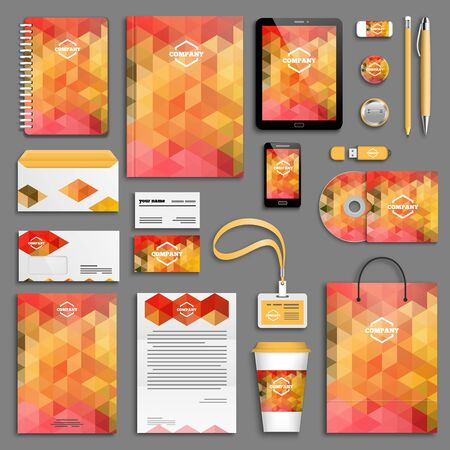 the envelope: Corporate identity template set. Business stationery mock-up with icon. Branding design.