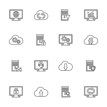 hardware configuration: Outline design vector set with hosting, server, database, network and cloud computing icons.